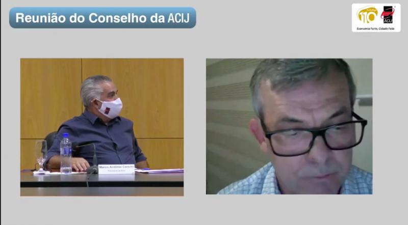 Secretário da Fazenda de Santa Catarina, Paulo Eli, em reunião com associados da Acij – Foto: Youtube/Reprodução
