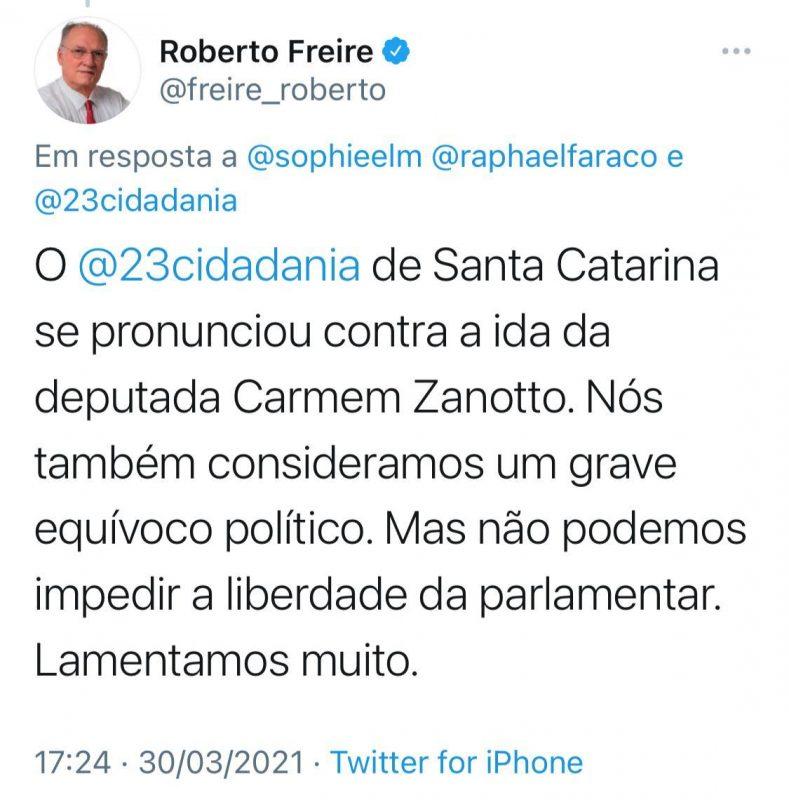 Roberto Freira critica a deputada Carmen Zanotto, que é do Cidadania – Foto: Reprodução/Twitter