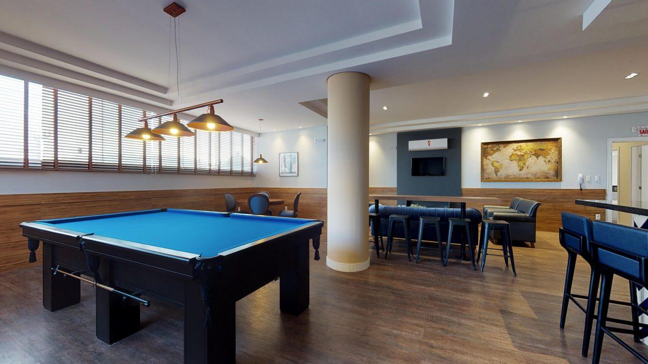 Sala de jogos com amplo espaço é um dos atrativos da área social - Divulgação/AM Construções