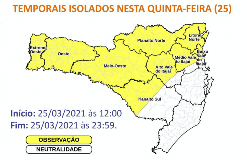 O mapa mostra as áreas sob risco de grande volume de chuva – Foto: Reprodução