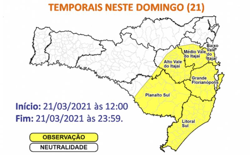 Temporais devem atingir áreas em amarelo no mapa – Foto: Defesa Civil/Divulgação