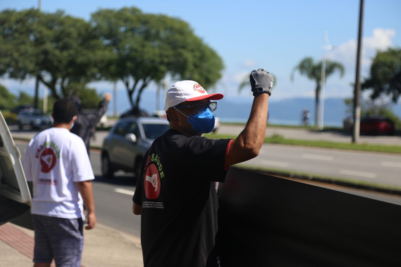 Divulgação/Sindsaúde - Trabalhadores da saúde defendem lockdown em SC