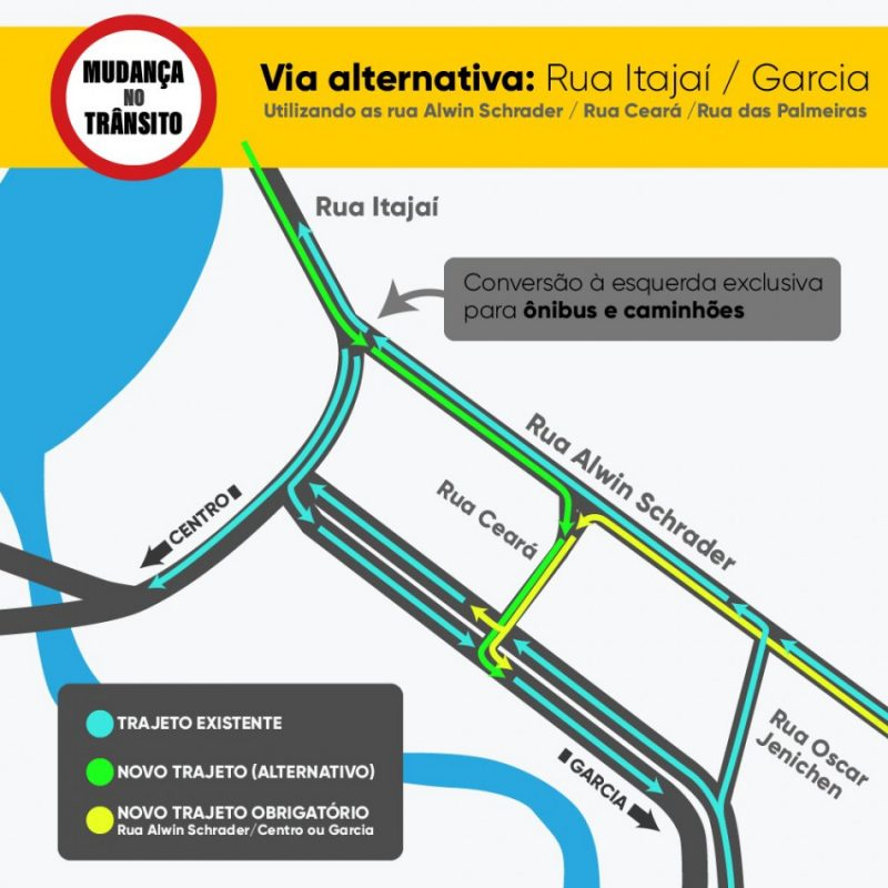 Trânsito no Centro Histórico de Blumenau terá alterações a partir de sábado – Foto: Divulgação/Prefeitura de Blumenau
