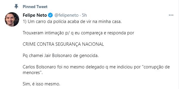 Felipe Neto; Bolsonaro; Genocida; Crime; Segurança