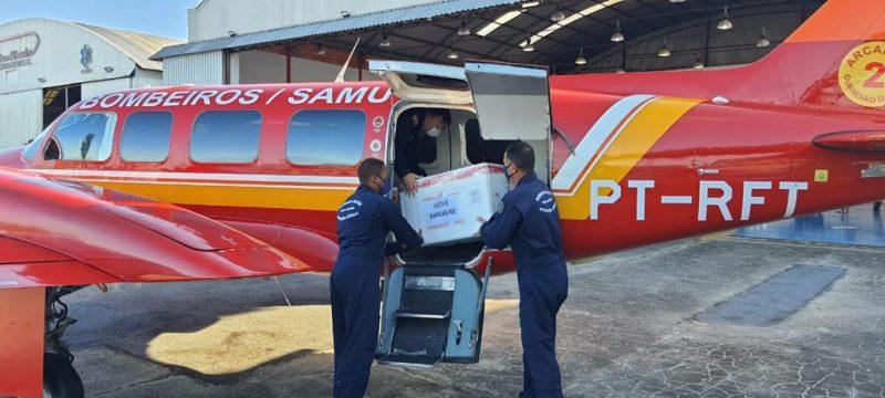 Doses da vacina foram enviadas ao Oeste na manhã desta quinta-feira (11) – Foto: Corpo de Bombeiros/ND