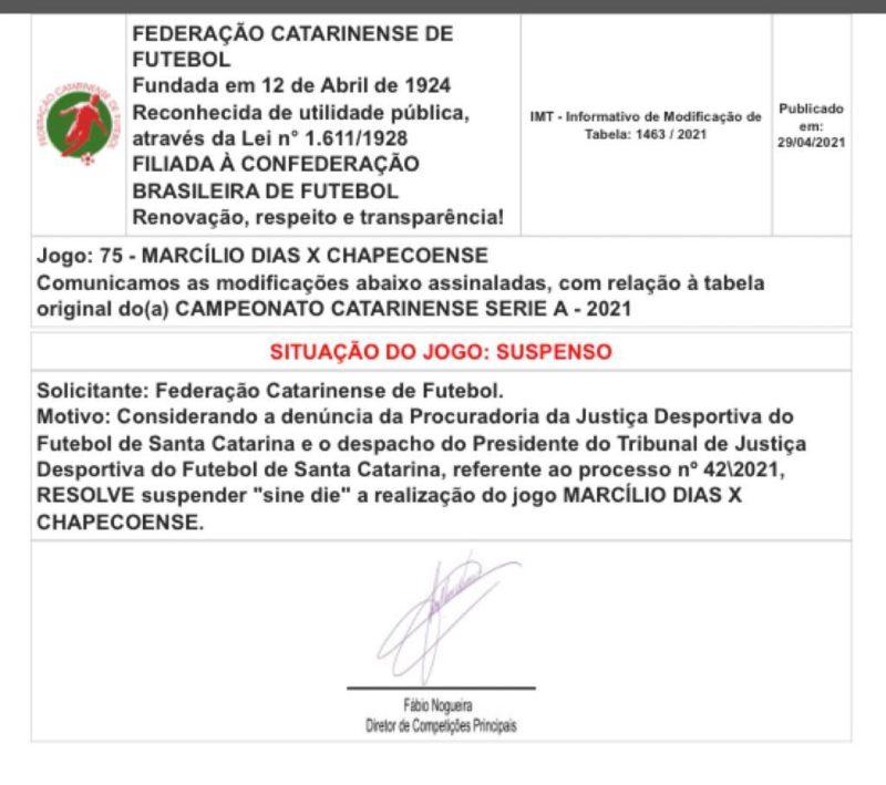 Jogo entre Marcílio Dias e Chapecoense suspenso – Foto: fcf/divulgação