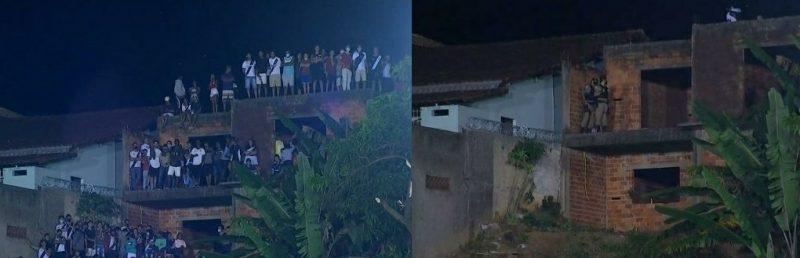 Antes e depois: polícia foi obrigada a dispersar torcedores – Foto: TV Globo/Reprodução