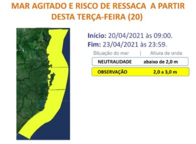 Alerta da Defesa Civil para mar agitado na faixa costeira de Santa Catarina – Foto: Divulgação/Defesa Civil