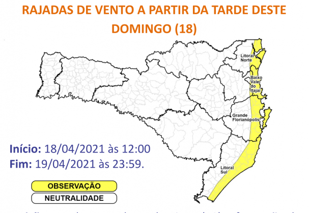Ciclone provoca ventos fortes em Santa Catarina a partir de domingo
