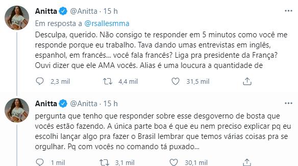 Cantora rebateu mais uma vez a fala do ministro – Foto: Reprodução/Redes sociais