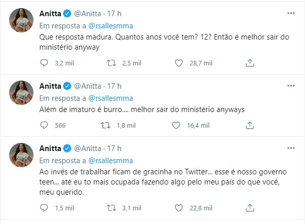 Anitta rebateu o comentário do Ministro nas redes sociais – Foto: Reprodução/Redes sociais