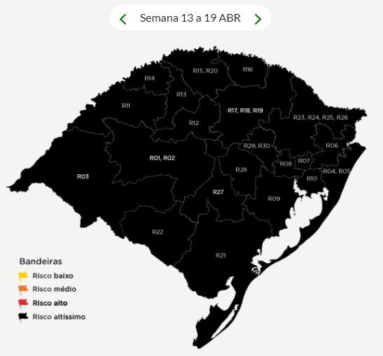 Todas as regiões do Estado estão bandeira preta – Foto: Reprodução/Secretaria de Estado da Saúde do Rio Grande do Sul