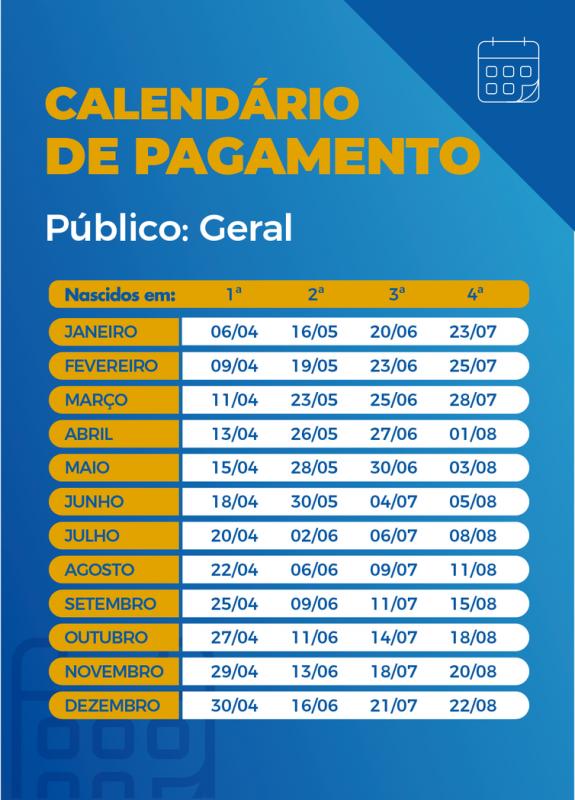 Calendário de pagamento das parcelas do auxílio emergencial; nesta terça-feira nascidos em abril têm o direito. – Foto: Agência Brasil/Reprodução/ND