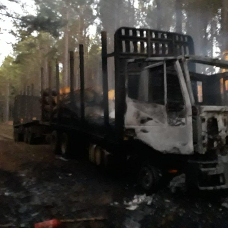 Caminhão ficou destruído após incêndio no interior de Curitibanos – Foto: Corpo de Bombeiros/Divulgação ND