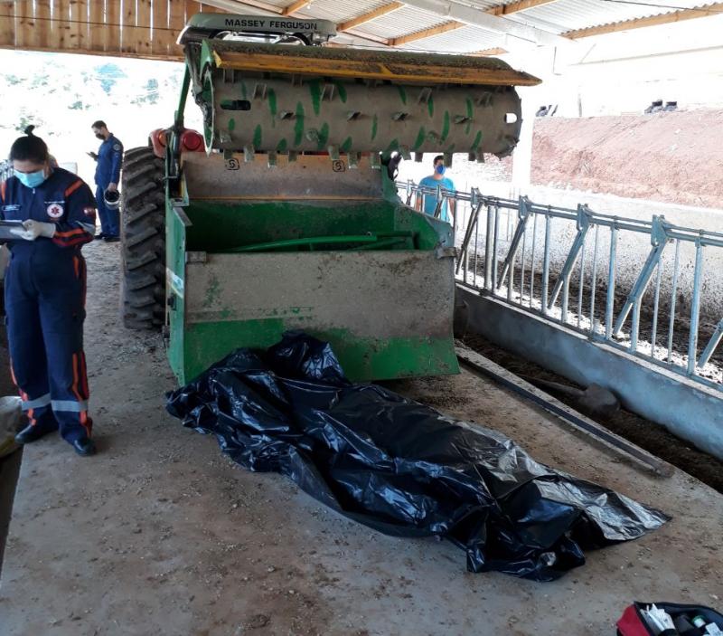 O homem morreu após acidente com máquina agrícola. – Foto: Corpo de Bombeiros/Divulgação/ND