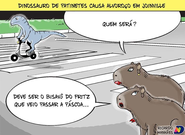 Dinossauro foi flagrado passeando por Joinville