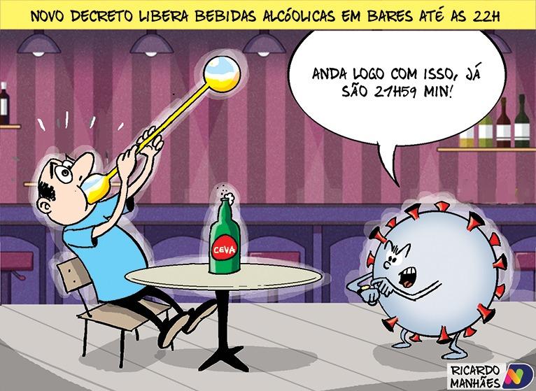 Novo decreto libera bebidas alcoólicas em bares até às 22h