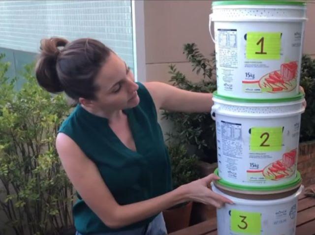 Composteira caseira pode ser feita com baldes – Foto: Epagri/ Divulgação/ ND