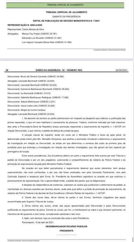 Nova decisão do Presidente Ricardo Roesler – Foto: Diario da Alesc