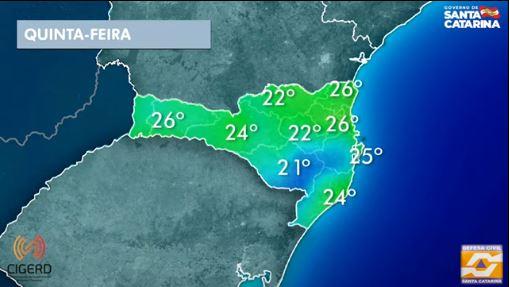 Defesa Civil divulga a previsão do tempo para esta quinta-feira (1º) – Foto: Reprodução Defesa Civil/Divulgação