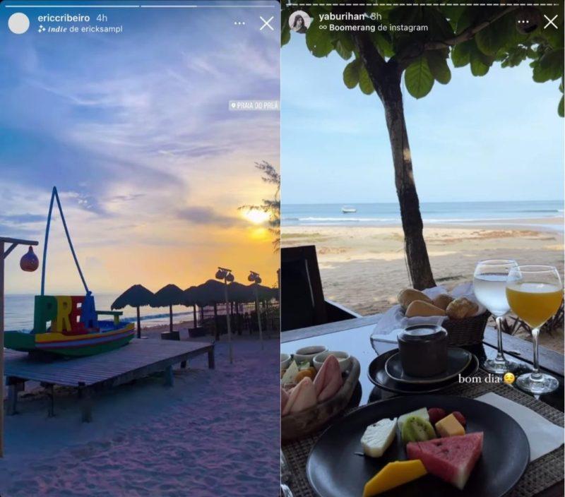 O casal postou stories na praia cearense – Foto: Montagem NDTV