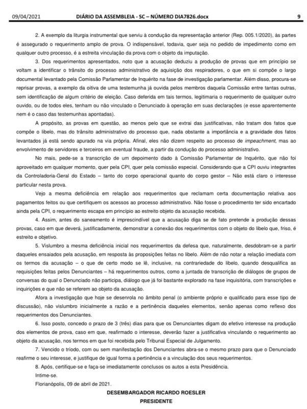 Presidente dá 5 dias para manifestação dos autores – Foto: Diario da Alesc