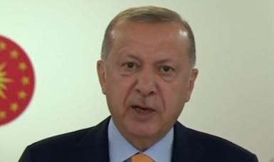 Recep Erdogan discursou nesta quinta (22) na Cúpula do Clima – Foto: Reprodução/Youtube