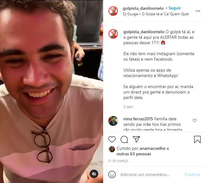 Postagem de perfil que denunciava golpes de estelionatário que enganava mulheres e foi preso em Balneário Camboriú – Foto: Aline Teixeira Leite Camargo/ND