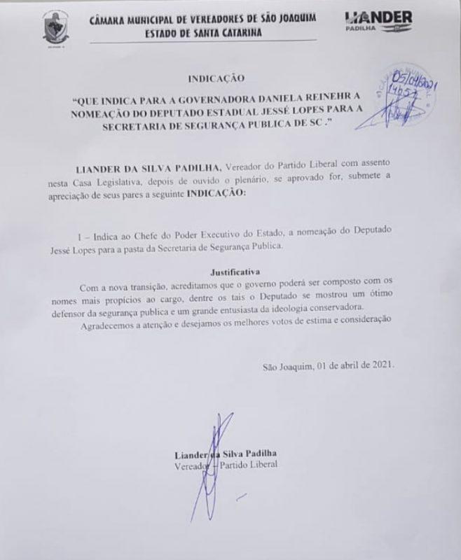 Vereador indica o deputado Jessé Lopes para a Segurança Pública – Foto: Reprodução