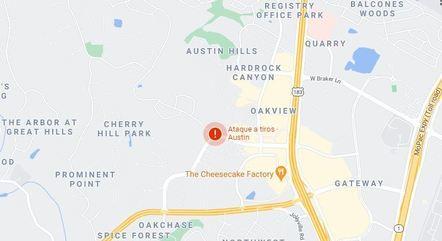 Tiros ocorreram no ponto vermelho do mapa em Austin – Foto: Google Maps/Reprodução