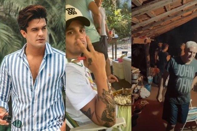 """O cantor viajou com alguns parentes para a tradicional """"pescaria dos Santanas"""", como definiu o próprio artista em publicações nas redes sociais. Confira tudo sobre o momento simples do famoso. – Foto: Reprodução/Instagram"""