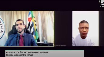 Lucas Cézar dos Santos (de camiseta branca) alegou que Flordelis (PSD-RJ) pediu que ele assumisse ter assassinado o pastor Anderson do Carmo – Foto: Câmara dos Deputados/Reprodução