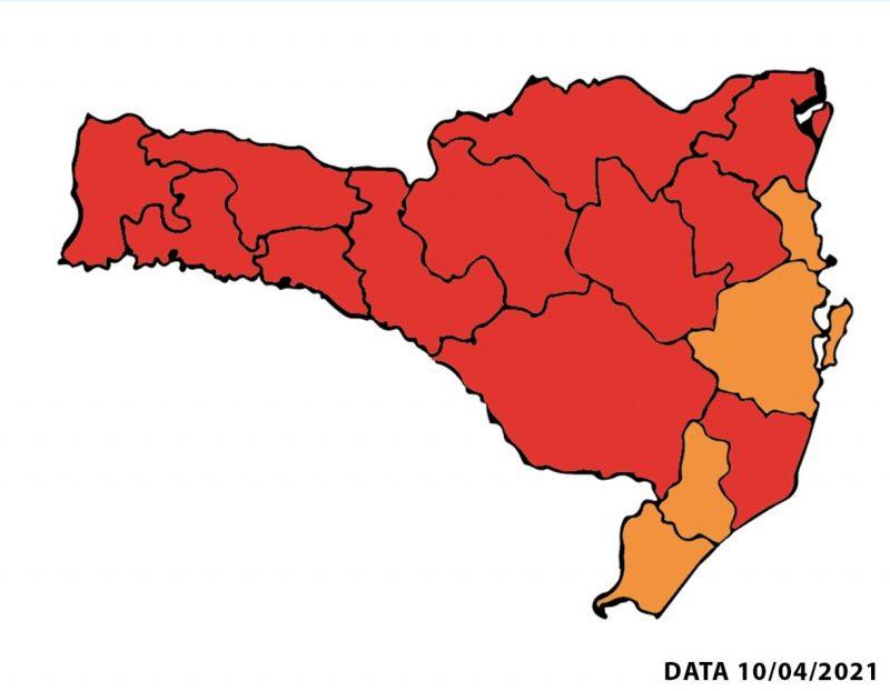 Mapa de Risco para Covid-19 SC 10/04/2021 – Foto: Reprodução/SES SC