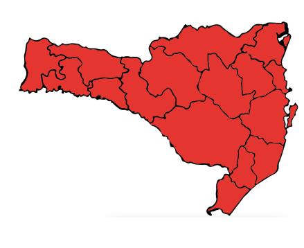 Mapa mostra Estado todo no vermelho no quesito que mede a ocupação dos leitos – Foto: SES/Divulgação