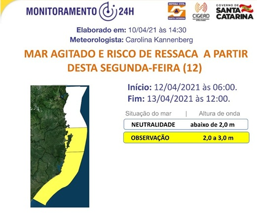 Alerta mar agitado – Foto: Defesa Civil/Divulgação/ND