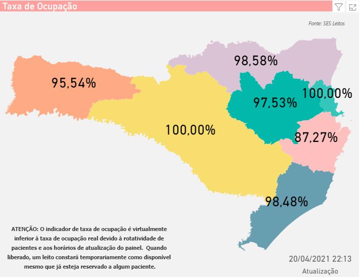 Mapa mostra a situação dos leitos em Santa Catarina – Foto: SES/Divulgação