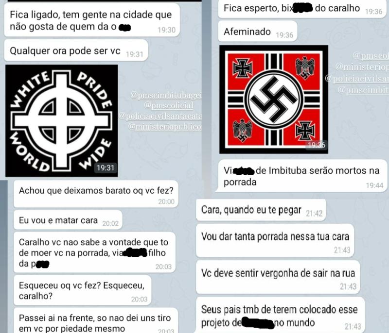 Simbolos neonazistas, ameaças de mortes e ofensas homofobia foram cometidas pelos agressores em Imbituba