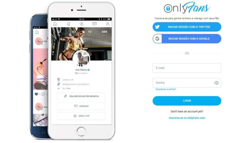 Página inicial do OnlyFans