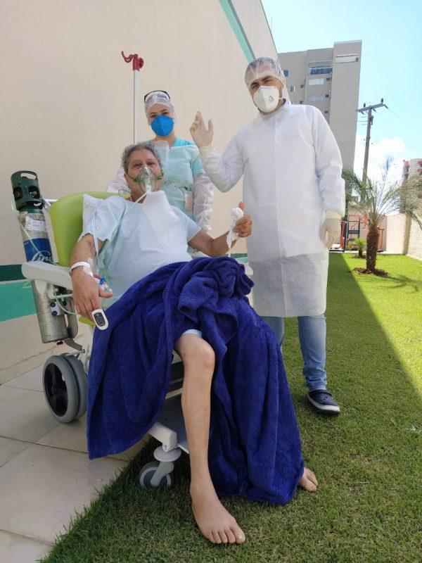 Aviz Cabral Gomes está internado há 20 dias e conheceu o ambiente montado do projeto Bem-Estar – Foto: Hospital de Maravilha/Divulgação