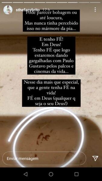 Sinal que a atriz Sthefany Brito teria recebido após rezar por Paulo Gustavo – Foto: Reprodução Redes Sociais