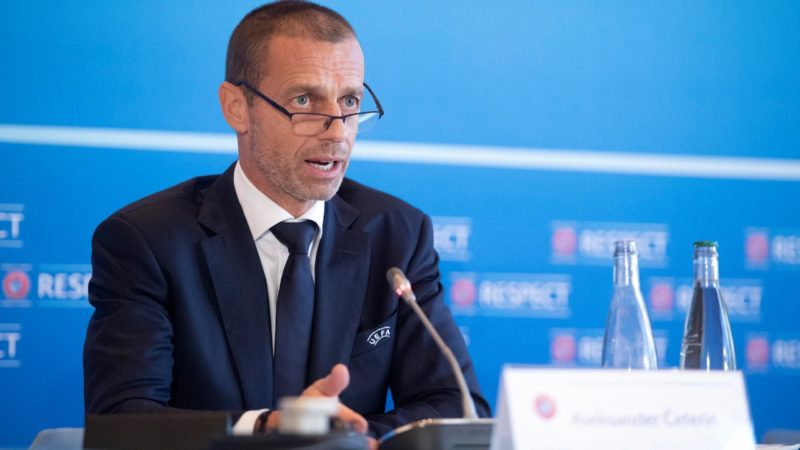 Aleksander Čeferin na reunião de segunda-feira do Comité Executivo da UEFA – Foto: UEFA/Divulgação/ND
