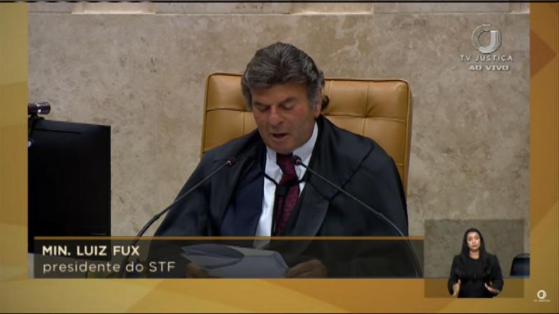 O ministro Luiz Fux encerrou a sessão após a corte formar maioria de 8 a 2 – Foto: Reprodução/TV Justiça/ND