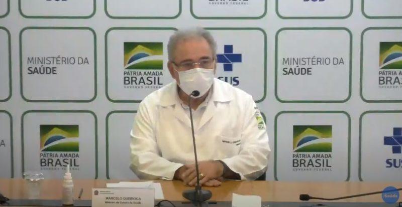 Ministro Marcelo Queiroga concedeu entrevista coletiva nesta quarta-feira (21) – Foto: Reprodução/Ministério da Saúde