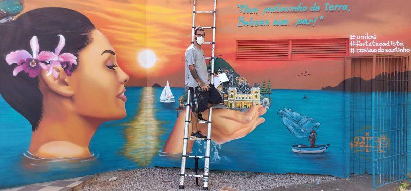 Rodrigo Rizo assina nova arte urbana no Centro da Capital – Foto: Marcos Cardoso/ND