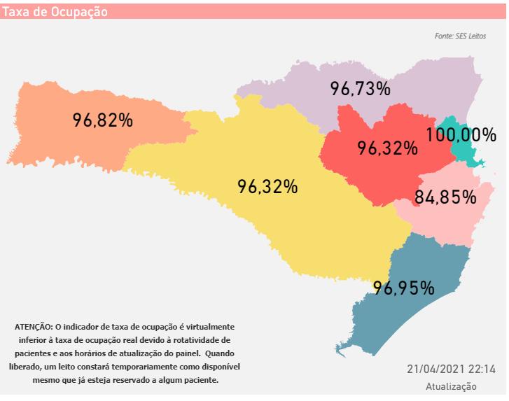 Mapa mostra a atual situação da ocupação dos leitos em Santa Catarina – Foto: SES/Divulgação