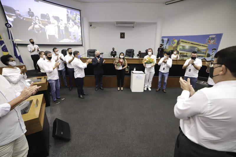 Profissionais de saúde foram homenageados na Câmara de Vereadores de Joinville – Foto: Mauro Artur Schlieck/ND