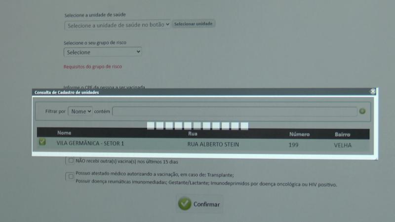 Site para agendamento da vacinação em Blumenau é alvo de reclamação dos usuários por lentidão – Foto: Alexandre de Oliveira/Reprodução NDTV