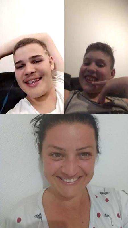 Chamada de vídeo com mãe, Dona Araceli e os filhos Leonardo e Vinícius – Foto: Arquivo pessoal
