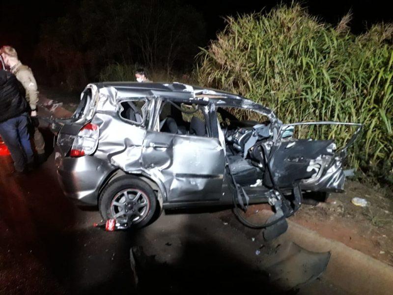 Acidente foi registrado no fim da tarde de quarta-feira (26) na BR-282, em Xaxim, próximo da Vila Diadema – Foto: Corpo de Bombeiros de Xaxim/Divulgação/ND