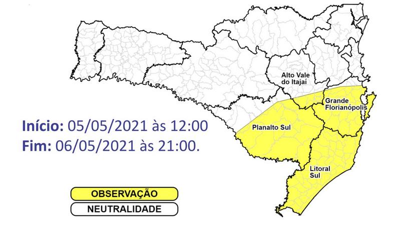 Áreas em amarelo no mapa correm risco moderado de alagamentos – Foto: Defesa Civil/Divulgação/ND